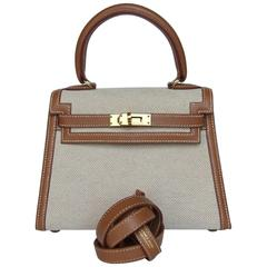 Extremely RARE HERMES Mini Kelly 20 cm Sellier Bag Canvas Gold Leather GHW