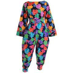 1980s SAINT LAURENT Rive Gauche Flowers Cotton Pants Suit