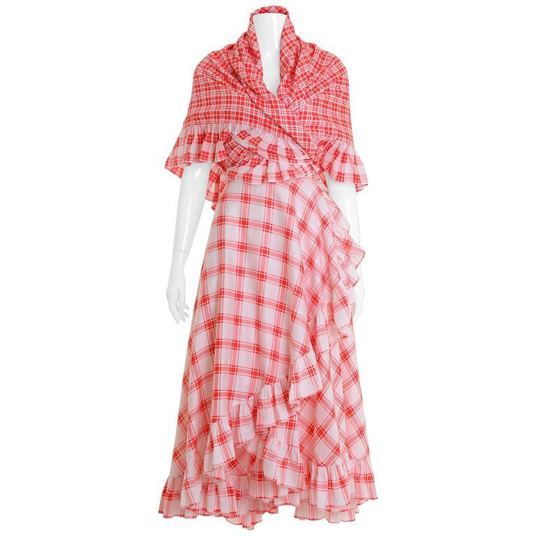 1970s SAINT LAURENT Rive Gauche Gypsy Skirt & Scarf Set  For Sale