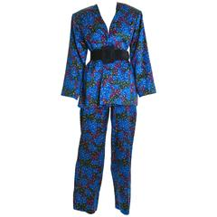 1980s SAINT LAURENT Rive Gauche Spotted Silk Pants Suit