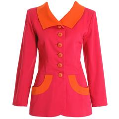 1990s YVES SAINT LAUREN Fuchsia and Orange Cotton Jacket