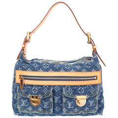 Louis Vuitton Monogram Blue Denim Baggy Shoulder Bag