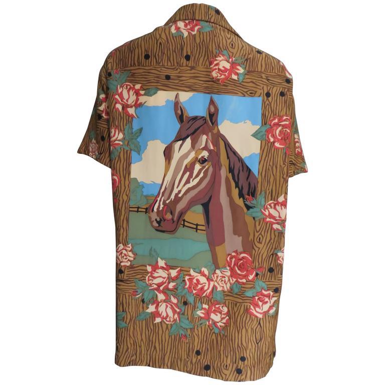1980s Todd Oldham Vintage Horse Back Silk Shirt 1