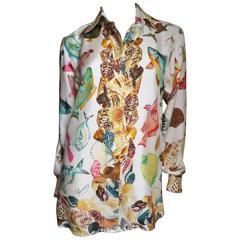 Vintage Gucci Silk Fish Print Shirt