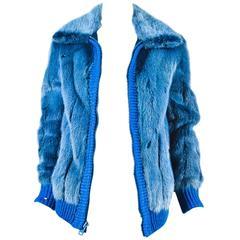 Vintage York Furrier Blue Mink Fur And Knit Ribbed Jacket