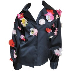 1970's New  Vintage Bill Blass Flower Covered Shirt or Jacket