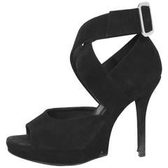 Yves Saint Laurent Black Suede Sandals Sz 35