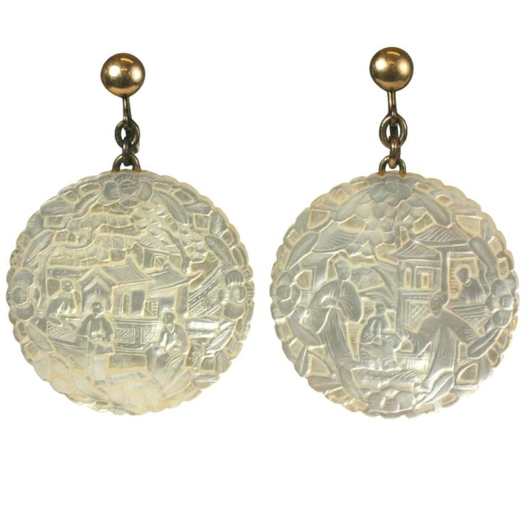 Unusual Mother Of Pearl Chinese Earrings For