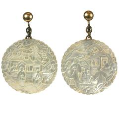 Unusual Mother of Pearl Chinese Earrings