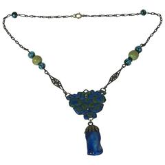 Antique Chinese Enamel and Lapis Glass Necklace