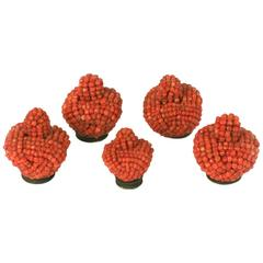 Antique Chinese Coral Hat Finials