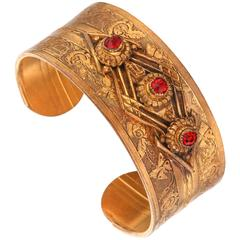 VICTORIAN REVIVAL c.1930's Floral Etched Brass Red Crystal Cuff Bracelet
