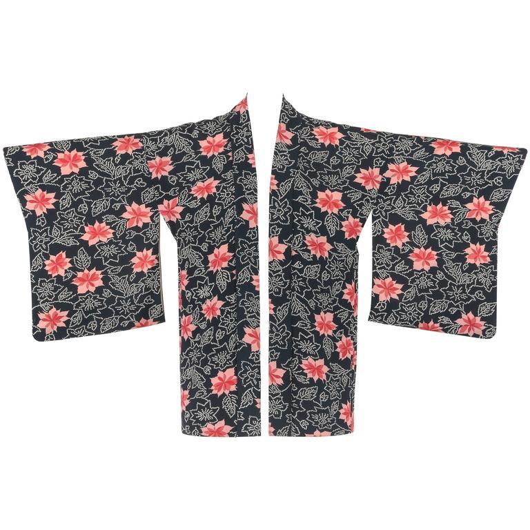 Couture c.1940's Midnight Blue Pink Floral Print Rayon Crepe Haori Kimono Jacket
