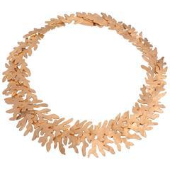 Eduardo Herrera Gold on Silver Seaweed Pattern Necklace