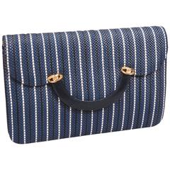 Fred, Paris Navy and White Woven Leather Clutch or Shoulder Bag, Never Used