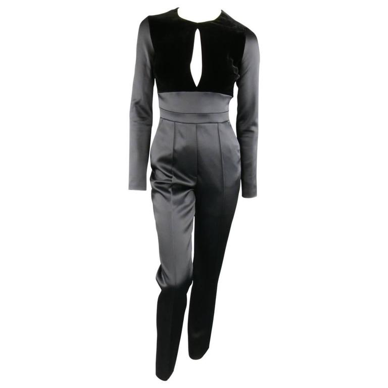 ELIE SAAB Size 4 Black Satin & Velvet Long Sleeve Cutout Jumpsuit