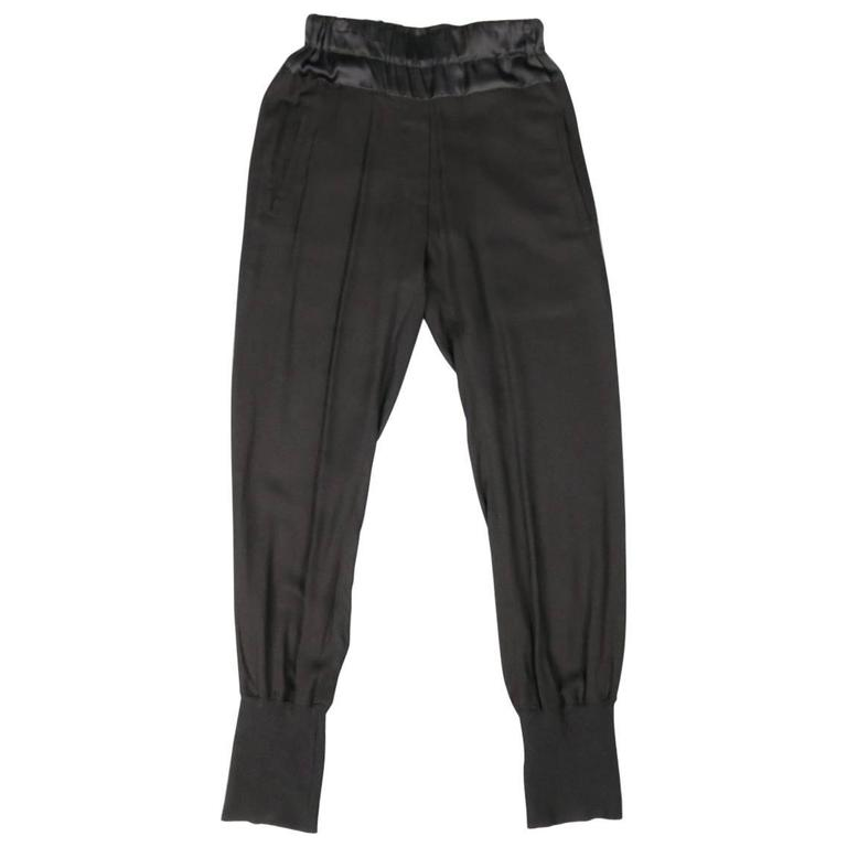 ANN DEMEULEMEESTER Size 4 Black Rayon Thick Silk Waistband Trousers For Sale