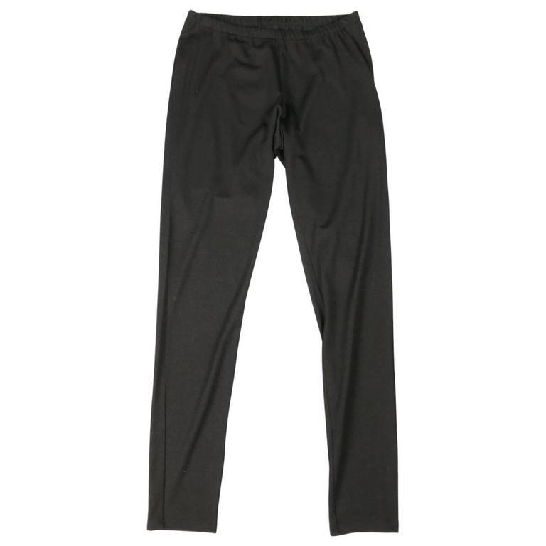 YOHJI YAMAMOTO Size 2 Black Wool Blend Stretch Leggings