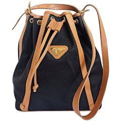 Vintage Yves Saint Laurent  black hobo bucket shoulder bag with brown leather