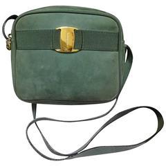Vintage Salvatore Ferragamo vara collection green suede leather shoulder bag.