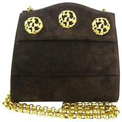 Vintage Salvatore Ferragamo dark brown suede shoulder bag, clutch, gold motifs.