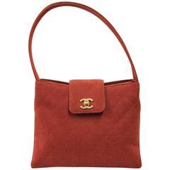 1990s Chanel Brick Red Cotton Shoulderbag