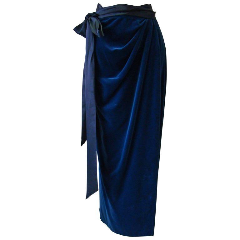 Early Gianni Versace Velvet Wrap Maxi Skirt