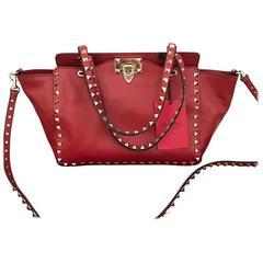 valentino rockstud tote bag red leather shoulder bag