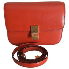 celine stingray box bag rd9f  celine medium classic box shoulder bag orange leather