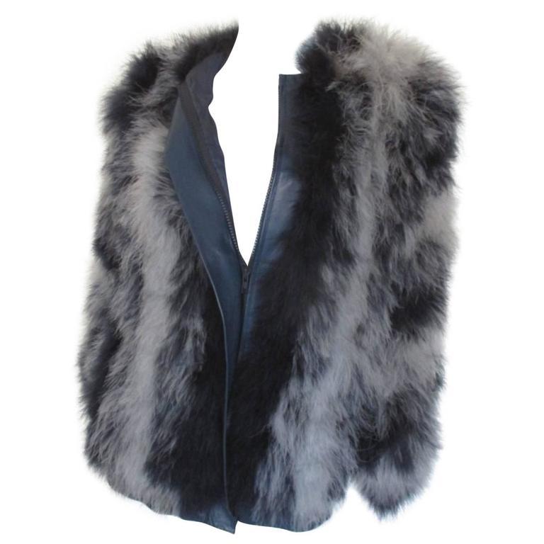 3008d205e99 yves saint laurent blue grey marabou feather- jacket at 1stdibs