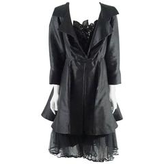 Christian Dior Vintage Black Silk Coat-Dress with Beading and Petticoat - L
