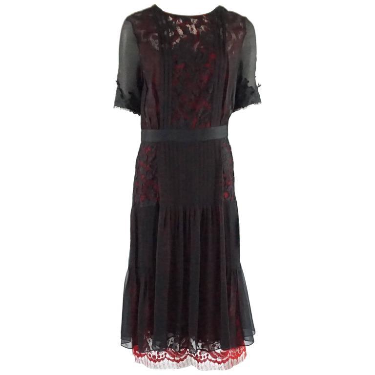 Oscar de la Renta Black and Red Silk Chiffon Dress with Lace - 10 - NWT