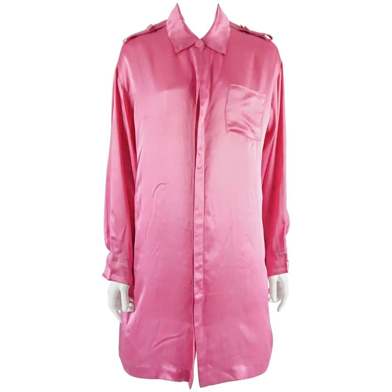 69fe709d7b97a Lanvin Pink Silk Shirt Dress - 36 For Sale at 1stdibs