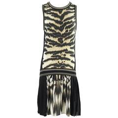 Roberto Cavalli Animal Print and Black Knit Dress - M