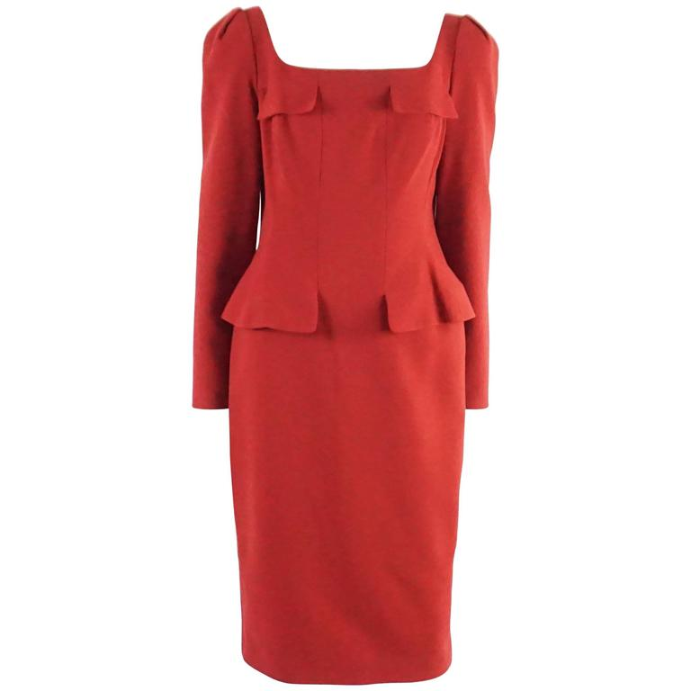 Alexander McQueen Red Wool Long Sleeve Dress with Peplum - 44 For Sale