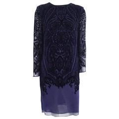 Oscar de la Renta Purple Silk Cut Velvet Long Sleeve Dress - M
