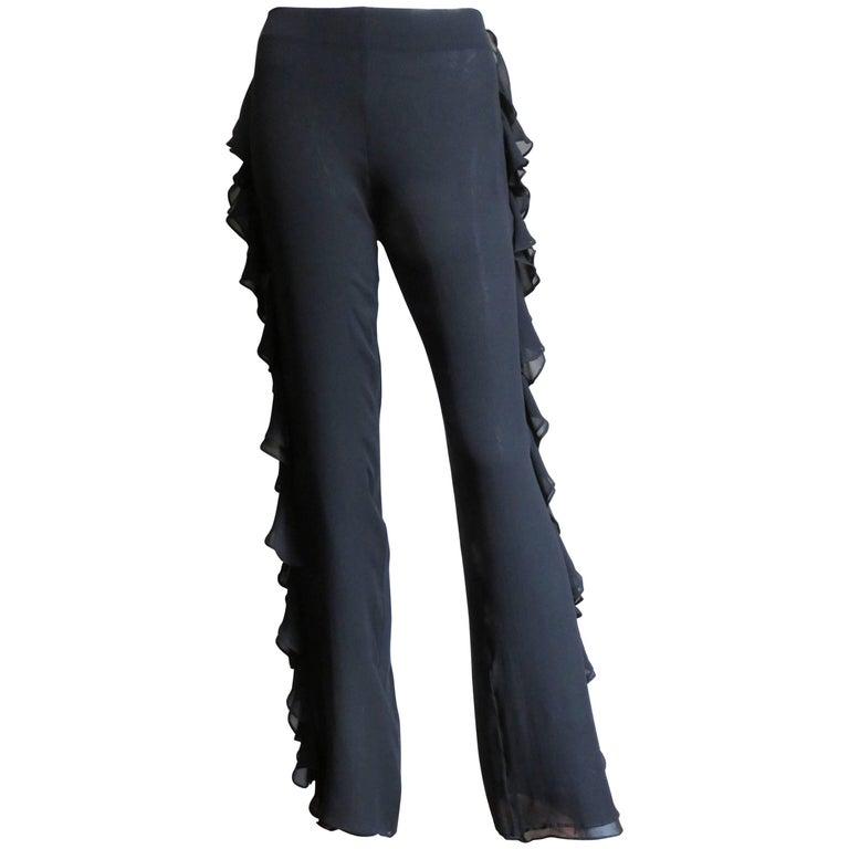 1990s John Bartlett Silk Pants With Side Ruffles