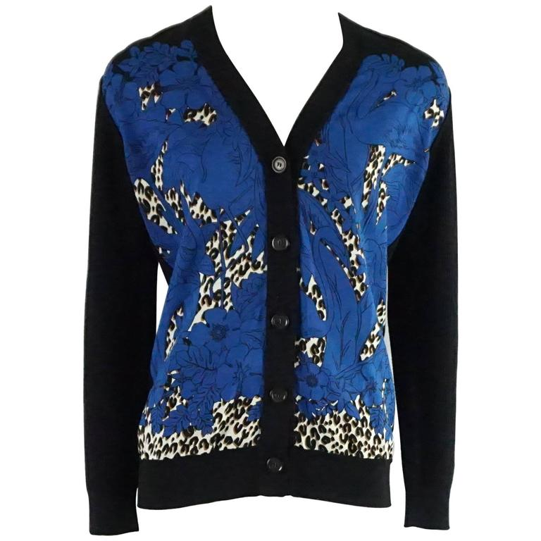 Louis Vuitton Black Wool Cardigan with Blue Silk Front - S 1