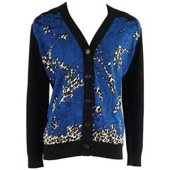 Louis Vuitton Black Wool Cardigan with Blue Silk Front - S