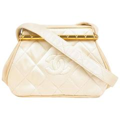 Vintage Chanel Cream & Gold Tone Satin & Leather Quilted 'CC' Mini Frame Bag