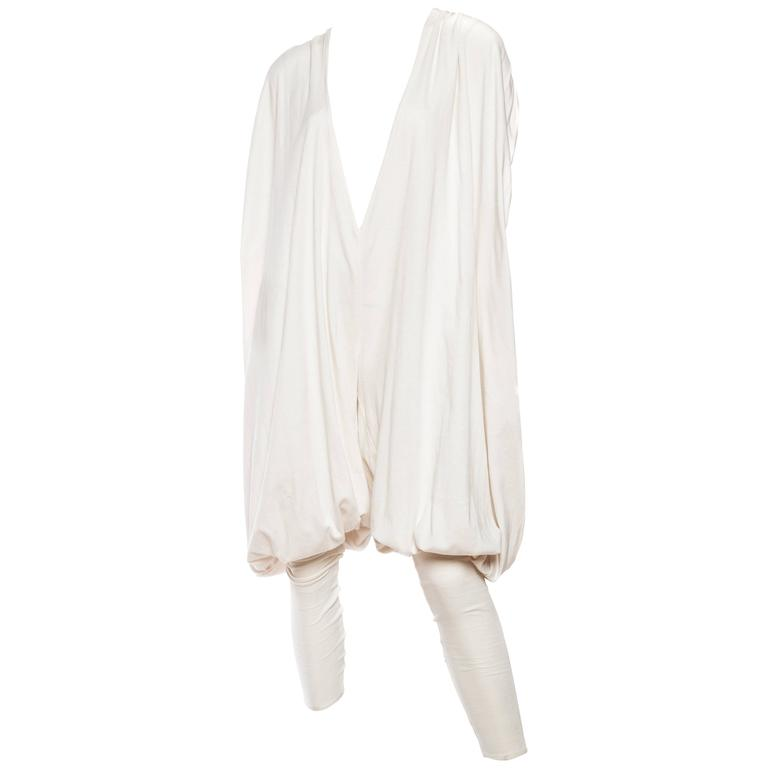 Early Norma Kamali from the 1970s Volumunous White Cotton Jersey Jumpsuit