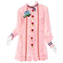 Gucci Style 1960s Baby-Doll Dress with Embroidery and Bows