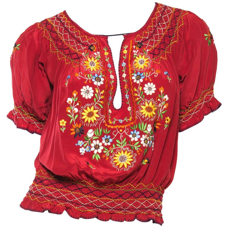 Beautiful Vintage Hand Embroidered Silk Bohemian Blouse 1