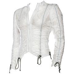 OMO Norma Kamali Sheer White Parachute Jacket