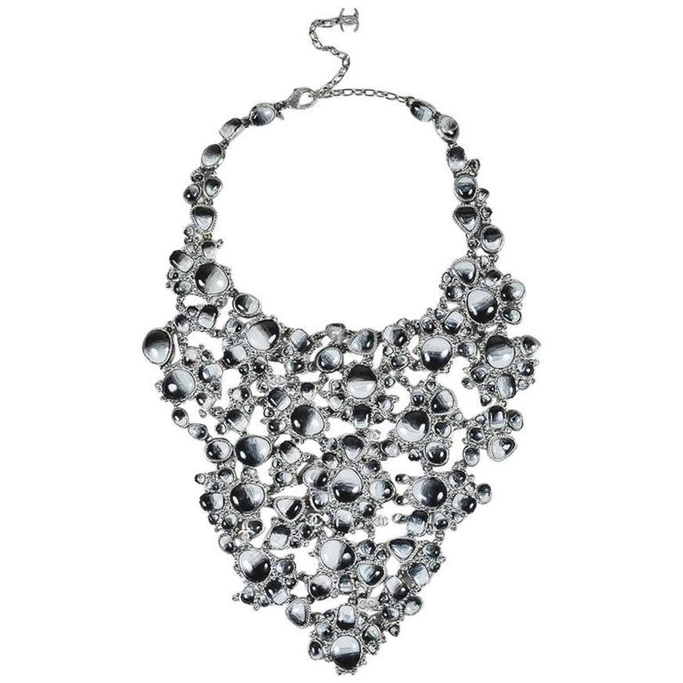 Chanel Runway 11A Silver Tone Metal Gray Marbled Resin Crystal Bib Necklace 1