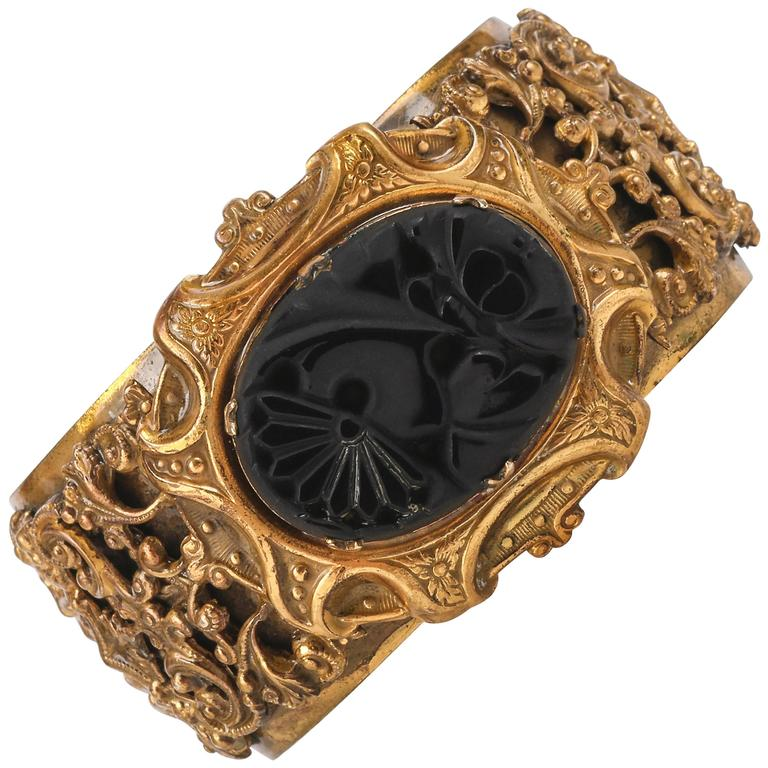 VICTORIAN REVIVAL c.1930's Brass Filigree Carved Black Onxy Cuff Bracelet For Sale