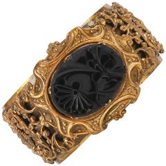 VICTORIAN REVIVAL c.1930's Brass Filigree Carved Black Onxy Cuff Bracelet