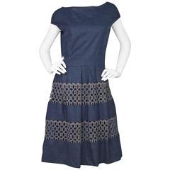 Lela Rose Navy Wool Eyelet Dress Sz 14