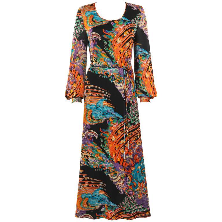 GIVENCHY Nouvelle Boutique c.1970's Multicolor Painterly Print Maxi Dress + Belt
