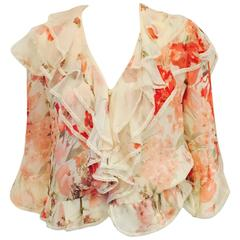 Valentino Ivory Silk Chiffon Floral Print Blouse With Tiered Ruffles and Lace